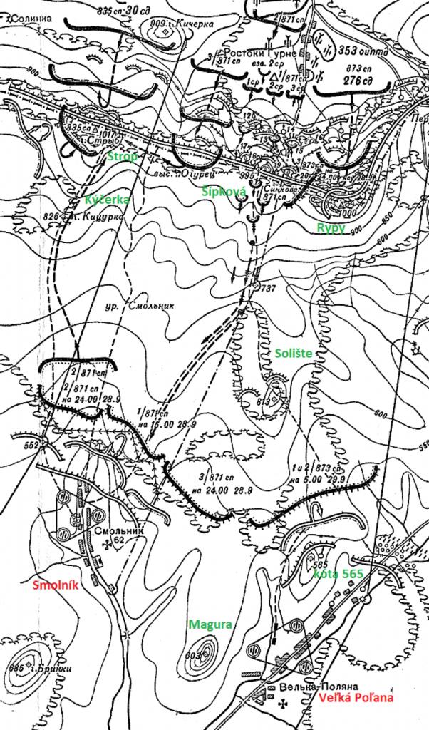 Bojové operácie v priestore obce Smolník a Veľká Poľana