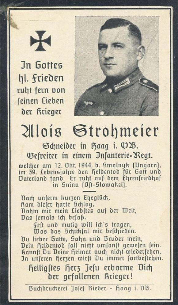 Smútočné oznámenie vojaka Aloisa Strohmeiera, ktorý padol 12.10.1944 v bojoch pri obci Smolník a bol pochovaný na cintoríne v Snine.