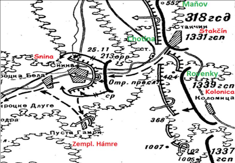 Mapa bojov v okolí Stakčína a Sniny