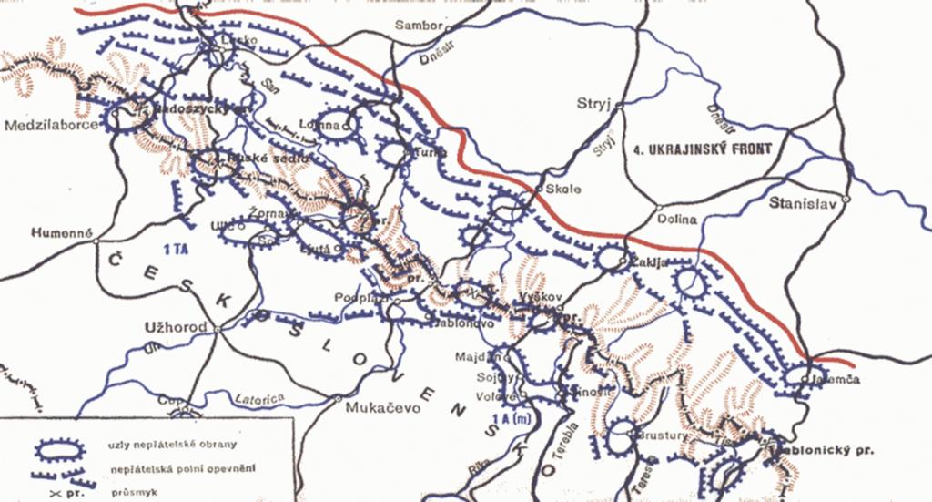 Mapa polohy vojsk a nemeckej obrany, Karpaty jeseň 1944
