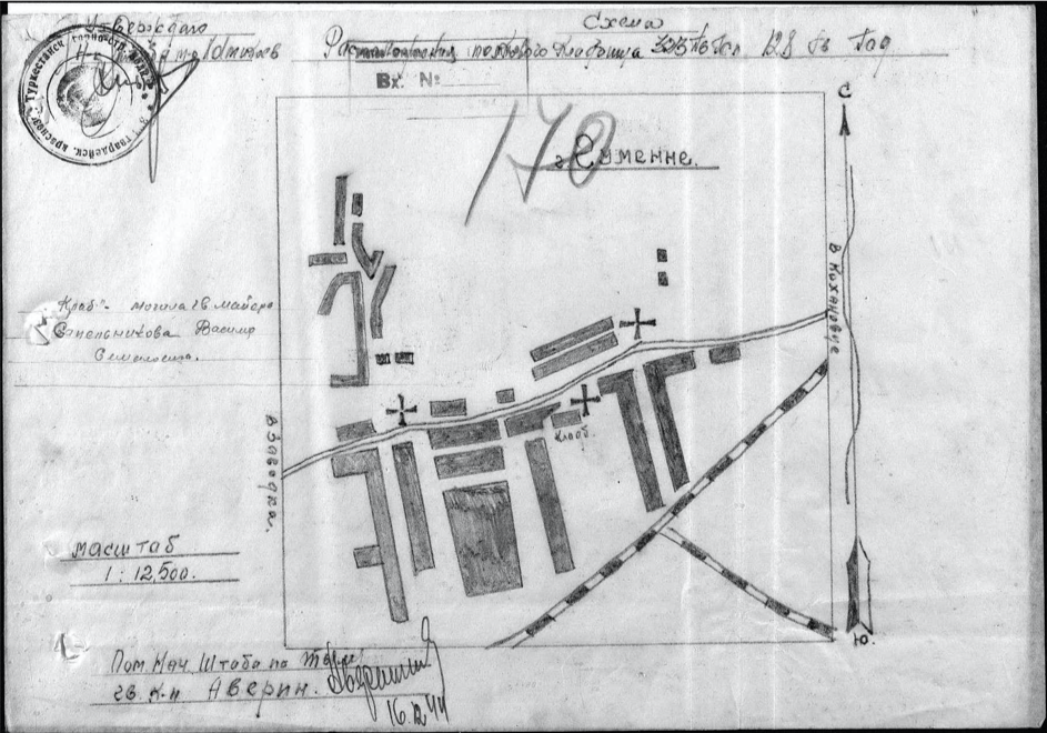 Schéma mesta Humenné vo vojenských sovietskych dokumentoch